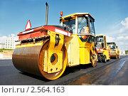 Купить «Каток дорожный за работой», фото № 2564163, снято 19 марта 2019 г. (c) Дмитрий Калиновский / Фотобанк Лори