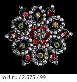 Купить «Драгоценный цветок из искусственных разноцветных камней на черном фоне», фото № 2575499, снято 4 июня 2011 г. (c) Fro / Фотобанк Лори