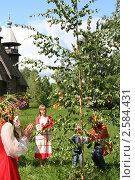 Купить «Праздник Троица в русской деревне, народные танцы, хоровод и гулянья», фото № 2584431, снято 7 июня 2009 г. (c) ElenArt / Фотобанк Лори