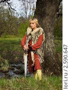 Купить «Портрет блондинки в скандинавском костюме с мечом», фото № 2590647, снято 11 мая 2011 г. (c) Дмитрий Черевко / Фотобанк Лори