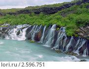 Панорама  водопада в Исландии. Стоковое фото, фотограф Leksele / Фотобанк Лори