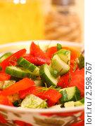 Купить «Салат из свежих овощей», фото № 2598767, снято 17 августа 2018 г. (c) Дорощенко Элла / Фотобанк Лори