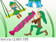 Маленькие эльфы. Стоковая иллюстрация, иллюстратор Кончакова Татьяна / Фотобанк Лори