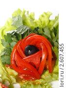 Купить «Украшение из томата для зеленого салата на белом фоне», фото № 2607455, снято 13 июля 2010 г. (c) Лисовская Наталья / Фотобанк Лори