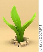 Купить «Молодое растение прорастает из бумаги», иллюстрация № 2607911 (c) Hemul / Фотобанк Лори