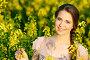 Портрет красивой девушки в поле желтых цветов, фото № 2611351, снято 9 августа 2017 г. (c) Дмитрий Калиновский / Фотобанк Лори