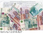 Купить «Деньги и кадастровый паспорт земельного участка», эксклюзивное фото № 2614827, снято 7 декабря 2019 г. (c) Анна Мартынова / Фотобанк Лори