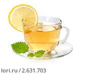 Купить «Стеклянная чашка чая с лимоном и мятой», фото № 2631703, снято 30 июня 2011 г. (c) Александр Лычагин / Фотобанк Лори