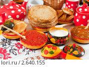 Купить «Блины с икрой и чай», фото № 2640155, снято 6 марта 2011 г. (c) Яков Филимонов / Фотобанк Лори