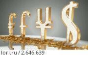 Золотые символы ведущих мировых валют. Стоковая анимация, видеограф Арсений Герасименко / Фотобанк Лори