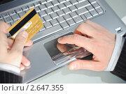 Купить «Ноутбук и кредитная карта в мужской руке», фото № 2647355, снято 27 января 2020 г. (c) bashta / Фотобанк Лори