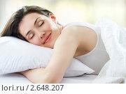 Купить «Девушка на спит на подушке», фото № 2648207, снято 27 июня 2011 г. (c) Константин Юганов / Фотобанк Лори