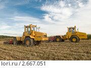 Два трактора с плугами. Стоковое фото, фотограф Дмитрий Калиновский / Фотобанк Лори