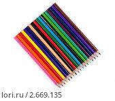 Цветные карандаши на белом фоне. Стоковое фото, фотограф Дмитрий Куш / Фотобанк Лори