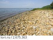 Купить «Каменистый пляж на берегу Азовского моря», фото № 2675363, снято 1 июля 2011 г. (c) Борис Панасюк / Фотобанк Лори