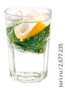 Стакан с водой, льдом, мятой и лимоном, изолированный на белом фоне. Стоковое фото, фотограф Мария Исаченко / Фотобанк Лори
