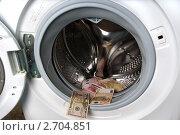 Стиральная машина и деньги. Стоковое фото, фотограф Наталья Райхель / Фотобанк Лори