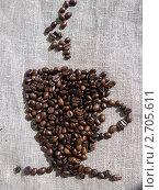 Кофейная чашка из зерен на фоне льняной скатерти. Стоковое фото, фотограф Юлия Волосова / Фотобанк Лори