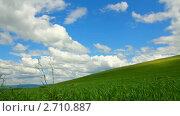 Купить «Зеленый холм и голубое небо с облаками. Таймлапс», видеоролик № 2710887, снято 8 июня 2011 г. (c) Михаил Коханчиков / Фотобанк Лори
