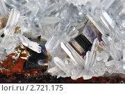 Друза кварца, горного хрусталя, мягко окружает пирита. Стоковое фото, фотограф Владимир Доковски / Фотобанк Лори