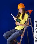 Девушка с дрелью. Стоковое фото, фотограф Яков Филимонов / Фотобанк Лори