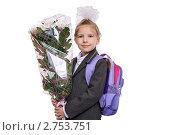 Купить «Первоклассница с букетом цветов», фото № 2753751, снято 25 августа 2011 г. (c) Круглов Олег / Фотобанк Лори