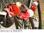 Новобрачные вешают замок. Стоковое фото, фотограф Евгений Разумовский / Фотобанк Лори