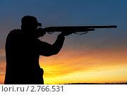 Купить «Охотник с ружьем. Силузт», фото № 2766531, снято 18 января 2019 г. (c) Дмитрий Калиновский / Фотобанк Лори