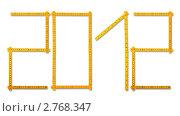 Купить «Цифра 2012, выложенная рулеткой», фото № 2768347, снято 7 июля 2020 г. (c) Яков Филимонов / Фотобанк Лори