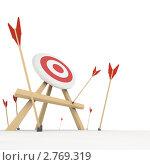Купить «Вид с пола на мишень со стрелами, не попавшими в цель», иллюстрация № 2769319 (c) Кирилл Путченко / Фотобанк Лори