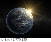 Купить «Вид на восход солнца над Землей из космоса сторона Америки», иллюстрация № 2770255 (c) Кирилл Путченко / Фотобанк Лори