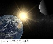 Купить «Планета Земля и Луна», иллюстрация № 2770547 (c) Кирилл Путченко / Фотобанк Лори