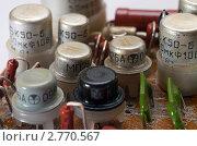 Старые радиодетали на печатной плате, эксклюзивное фото № 2770567, снято 3 сентября 2011 г. (c) Константин Косов / Фотобанк Лори