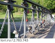 Купить «Замки на перилах моста», эксклюзивное фото № 2783743, снято 26 мая 2011 г. (c) Василий Пешненко / Фотобанк Лори