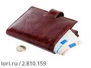 Купить «Кошелек с банкнотой евро», фото № 2810159, снято 7 августа 2011 г. (c) Игорь Соколов / Фотобанк Лори