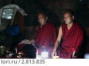 Купить «Монахи-буддисты на молитвенной церемонии в храме», фото № 2813835, снято 3 сентября 2011 г. (c) Татьяна Белова / Фотобанк Лори