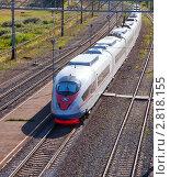 Купить «Скоростной поезд Сапсан», фото № 2818155, снято 17 августа 2011 г. (c) Яков Филимонов / Фотобанк Лори