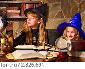 Купить «Две девочки в костюмах ведьмы со стеклянным шаром», фото № 2826691, снято 25 сентября 2011 г. (c) Gennadiy Poznyakov / Фотобанк Лори