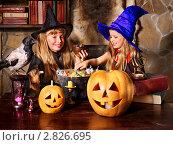 Купить «Две сестры в костюмах ведьм», фото № 2826695, снято 25 сентября 2011 г. (c) Gennadiy Poznyakov / Фотобанк Лори