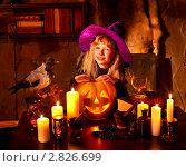 Купить «Девочка в костюме ведьмы с тыквой для Хэллоуина», фото № 2826699, снято 25 сентября 2011 г. (c) Gennadiy Poznyakov / Фотобанк Лори