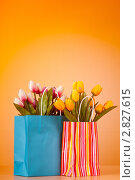 Купить «Бумажные пакеты с букетами тюльпанов», фото № 2827615, снято 20 апреля 2011 г. (c) Elnur / Фотобанк Лори
