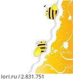 Купить «Две пчёлки на светлом фоне, рисунок», иллюстрация № 2831751 (c) vlasova / Фотобанк Лори