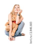 Купить «Блондинка сидит с плюшевым медведем», фото № 2846683, снято 6 января 2010 г. (c) Сергей Сухоруков / Фотобанк Лори