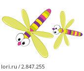 Купить «Разноцветные стрекозы, рисунок», иллюстрация № 2847255 (c) Рада Коваленко / Фотобанк Лори