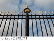 Купить «Металлический забор с золотистыми наконечниками», фото № 2849711, снято 11 сентября 2011 г. (c) Руслан Кудрин / Фотобанк Лори