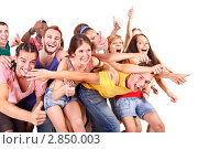 Купить «Группа веселых молодых людей», фото № 2850003, снято 23 июля 2011 г. (c) Gennadiy Poznyakov / Фотобанк Лори