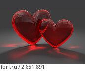 Купить «Стеклянные сердца на сером фоне», иллюстрация № 2851891 (c) Горбунов Владимир / Фотобанк Лори