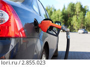 Купить «Заправка бензином на АЗС», фото № 2855023, снято 6 сентября 2011 г. (c) Кекяляйнен Андрей / Фотобанк Лори