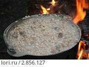 Купить «Перловая каша варится на костре», фото № 2856127, снято 6 августа 2011 г. (c) Робул Дмитрий / Фотобанк Лори