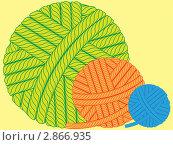 Клубки разноцветной пряжи. Стоковая иллюстрация, иллюстратор Сергей Павлов / Фотобанк Лори